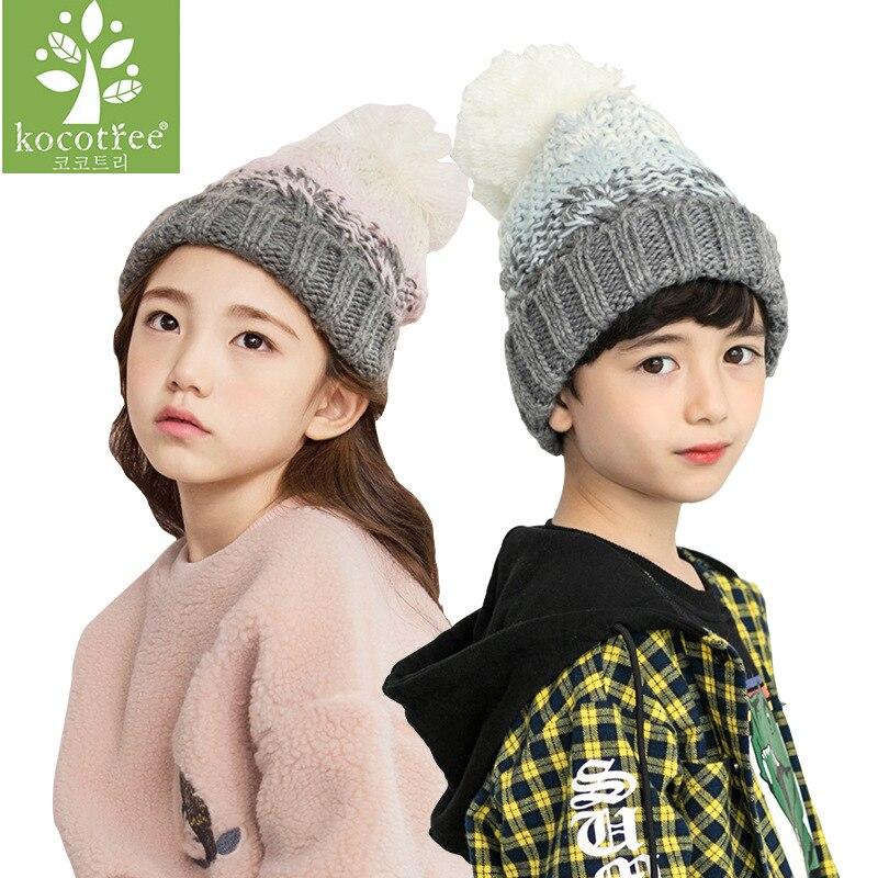 2018 Kids   Beanie   Pom Pom Hat Children Winter Woolen Cap Boys Knitted Crochet Hats Gilrs Fashion   Skullies     Beanies   Warm Knit Caps