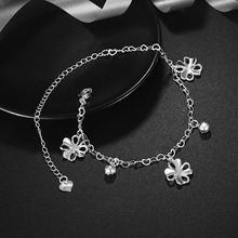 AMOURJOUX Silver Plated LUCKY FLOWER Charm Anklets For Women Ankle Bracelet On The Leg Anklet Silver