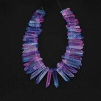 Kleurrijke clear roze blauw kristal stok punten hangers, ruwe aura ruwe kristallen spike kralen, top geboord afgestudeerd ruw quartz