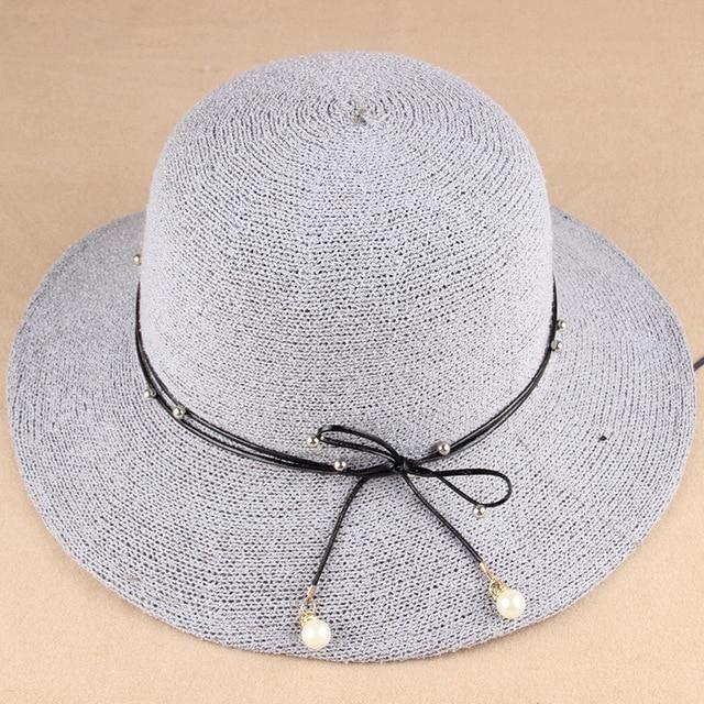 Correia da Pérola do vintage Senhora Fedora Panamá Chapéus De Aba Larga  Praia chapéus mulher Cor ffff08dd092
