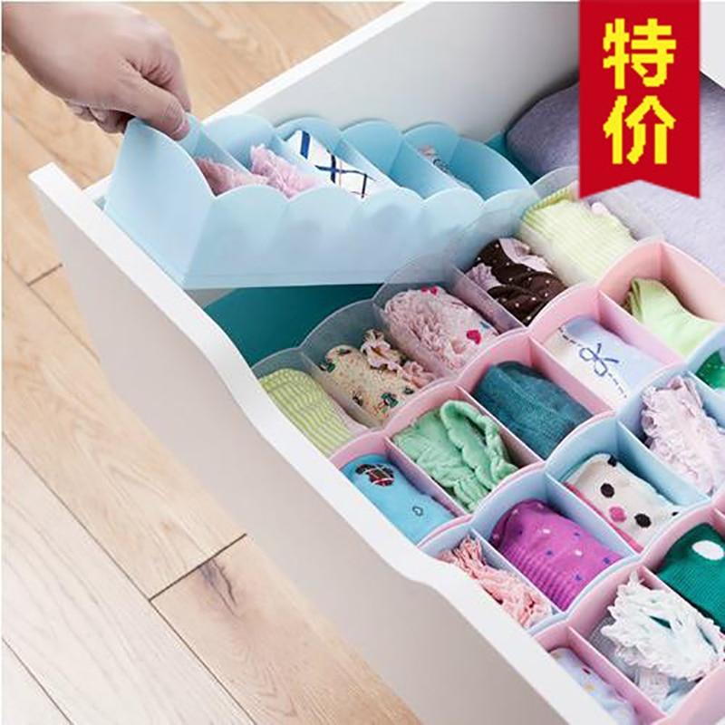 Five Lattice Sorting Box Underwear Sock Storage Organizer Desktop Drawer Classification Cosmetics Makeup Boxes Home Accessories
