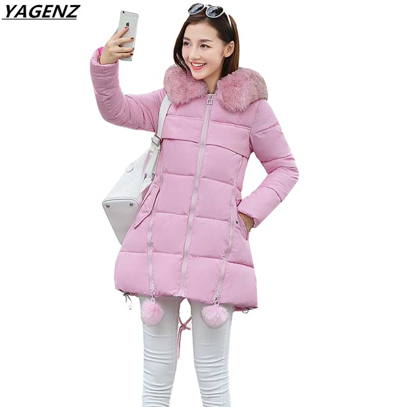 Winter Down Cotton Jacket Women parkas Medium Long Hooded Fur Collar Thicken Warm Outerwear Large Size Women Basic Coat YAGENZ 2016 new hot winter thicken warm woman down jacket coat parkas outerwear hooded raccoon fur collar long plus size xxxl slim cold