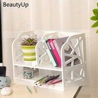 WPC 2Tier Desktop Organizer Book Desk Shelf Storage Holder Display Rack Office