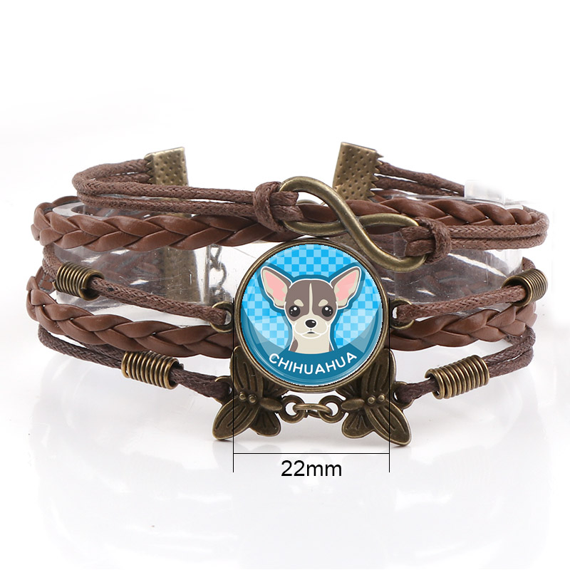Interchangeable Vintage Metal Mixed Pet Dog Glass Cabochon Rope Leather Bracelets Choker DIY Personalized Jewelry Finding