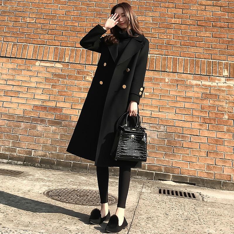 D'hiver Section Automne Black Mince Lâche Nouvelle 2018 Femelle De Mode La Et Longue Version Noir Laine Coréenne Femmes Manteau Mme xtZSfwZ