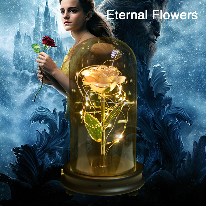 WR Original LED White Metal Rose Artificial Flower for Mother's Day Valentine Gift Decorative Flowers & Wreaths