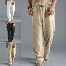 Мужские брюки лето осень брюки супер размер льняной стиль Свободные повседневные дышащие уличные однотонные спортивные брюки pantalones hom# G