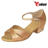 Evkoodance Girls Satin Ballroom Shoes Handmade 3cm Low Heel High Quality Free Ship Low Heel 5 colors can be choose Evkoo 357