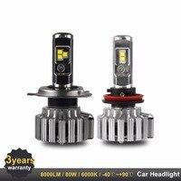 2PCS LED H7 H4 H11 9000LM LED Headlights For Car 80W High Power HB3 HB4 Carlight