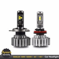 2PCS LED H7 H4 H11 9000LM LED Headlights For Car 80W High Power HB3 HB4 Carlight