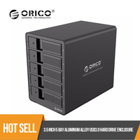 ORICO 5 bay 3.5 inch SATA Aluminum USB3.0 Hard Drive Enclosure 50TB Max With 12V6.5A EU Plug Power Adapter From Russia Warehouse