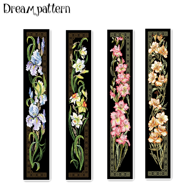 Iris Daffodil Orchid Cross Stitch Package Flower Aida 18ct 14ct 11ct Black Cloth People Kit Embroidery DIY Handmade Needlework