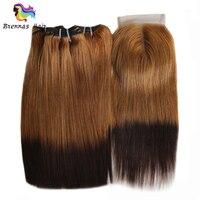 Омбре 27/4 двойные нарисованные прямые человеческие волосы пучки с закрытием 3 шт с закрытием/упаковка человеческих волос Плетение не линяет