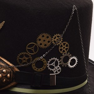 Image 5 - Ladies Black Feather Women Fedoras Steampunk Gears Men Top Hat With Goggles