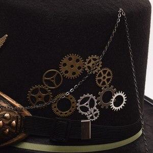 Image 5 - גבירותיי שחור נוצת נשים מגבעות לבד Steampunk Gears גברים מגבעת עם משקפי