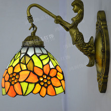 Tiffany Wall Lamp Sunflower Country Style Stained Glass Mermaid Sconce Bedroom Stair Lighting E27 110-240V