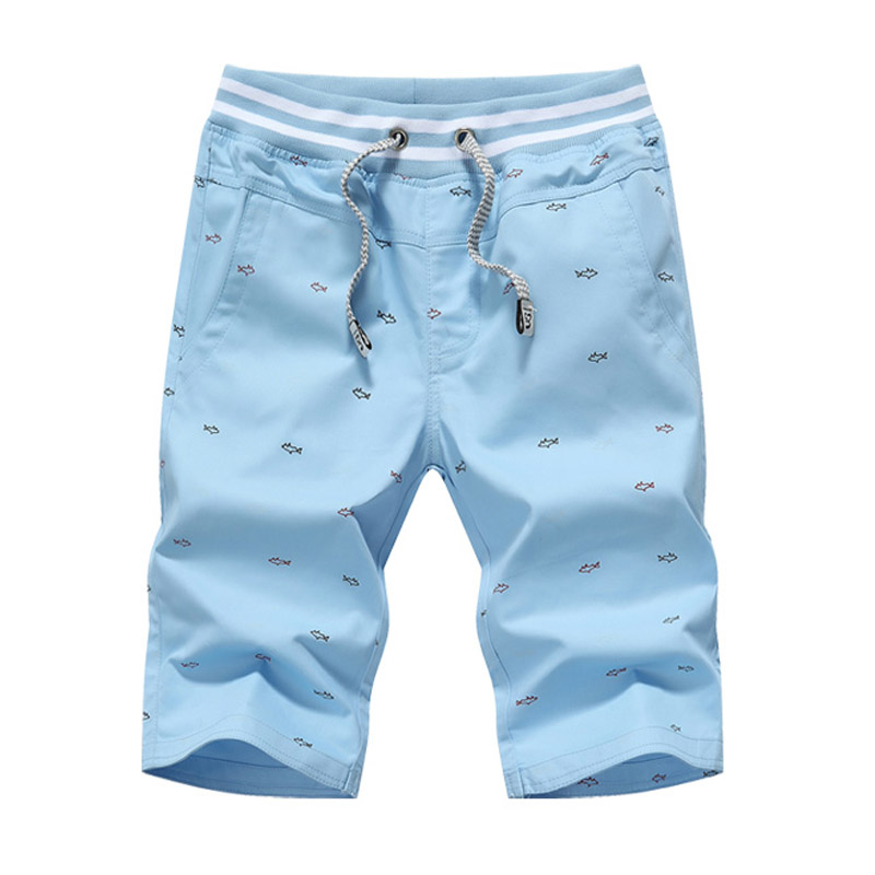 Hot koop fashion vis gedrukt mannen casual shorts fitness elastische taille shorts thuis 4 kleuren M-4XL AYG242