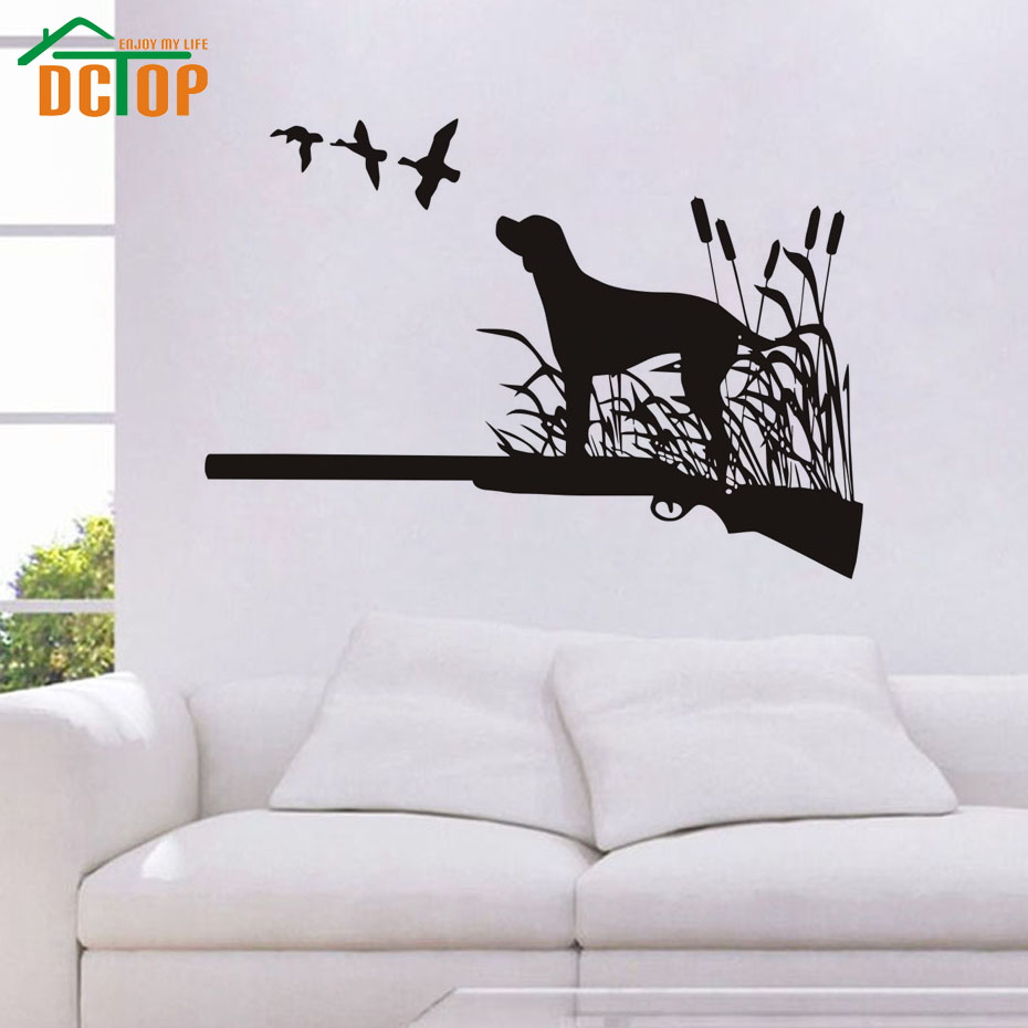 dctop birds hunting dogs wall decals active hobbies hunter vinyl wall art stickers for bedrooms decor - Hunting Bedroom Decor