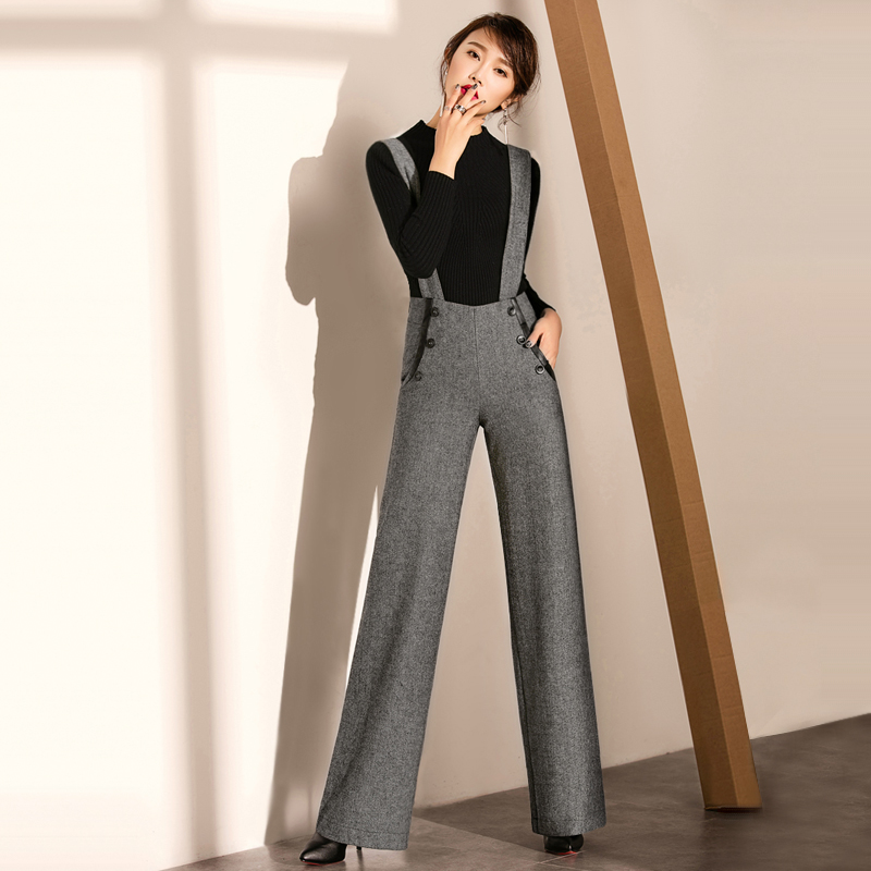 plus size women's formal bib overalls pants winter vintage loose