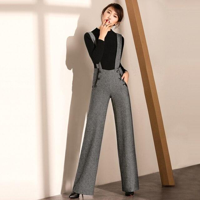 Pantalon Bretelles Femme Taille Avec Bretelles pantalon Haute AS4R3jL5qc