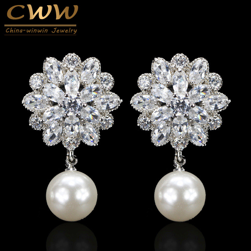 CWWZircons Classic Flower Design Fashion Women Cubic Zircon Drop Earring With Dangling Pearl Jewelry For Ladies CZ099