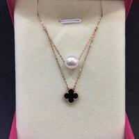 Sinya 18 k southsea pingente de pérola de ouro trevo de quatro folhas charme colar para mulheres Fine jewelry branco ou preto opcional Hotsale
