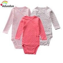 Нижнее белье для маленьких девочек Хлопковое боди с длинными рукавами и цветочным принтом, модный детский комбинезон для новорожденных до 18 месяцев