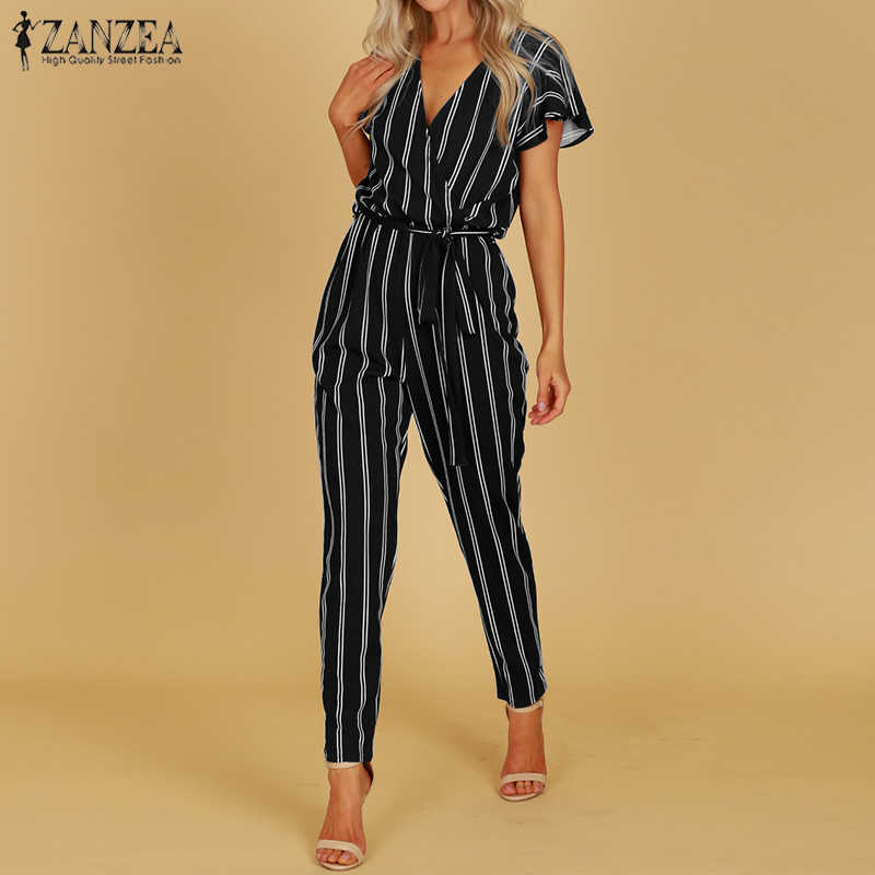 ZANZEA 2019 Elegant Rompers Women Jumpsuit Female Striped Pants Office Ladies Bodysuits V Neck Belted Summer Trouser Plus Size