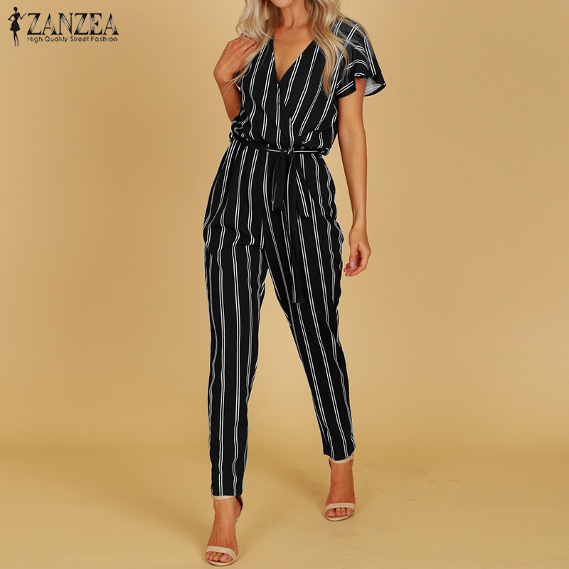 ZANZEA 2019 Elegant   Rompers   Women Jumpsuit Female Striped Pants Office Ladies Bodysuits V Neck Belted Summer Trouser Plus Size