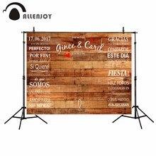 Allenjoy del vinile sfondo fotografico di Legno banner di amore dellannata da sposa su misura fantasy scenografia fotografia photocall puntelli