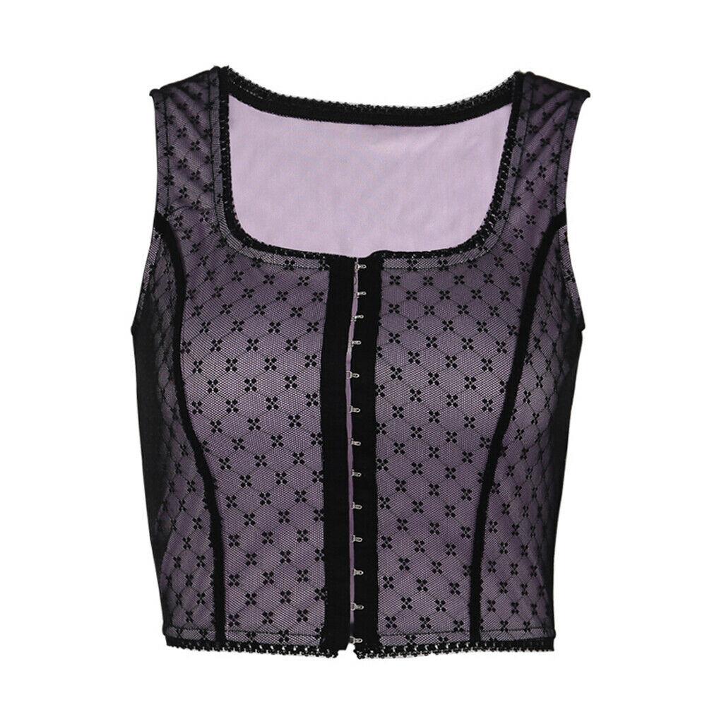 Girls Sexy Women Net Yarn Wave Point Bandage Vest Wave Point Crop Top Tank Sleeveless Summer Crop Top Cami Clubwear