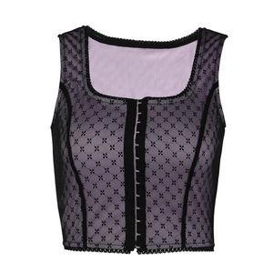 Girls Sexy Women Net Yarn Wave Point Bandage Vest Wave Point Crop Top Tank Sleeveless Summer Crop Top Cami Clubwear(China)