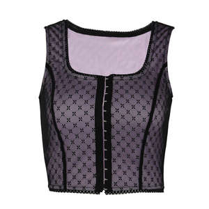 Bandage Vest Cami Clubwear Net Yarn Crop-Top Sexy Women Summer Sleeveless Girls Wave-Point