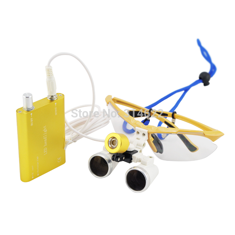 CE &FAD  3.5X Dental  Surgical loupes working distance 420mm + LED light lamp yellow Freeshipping  цены