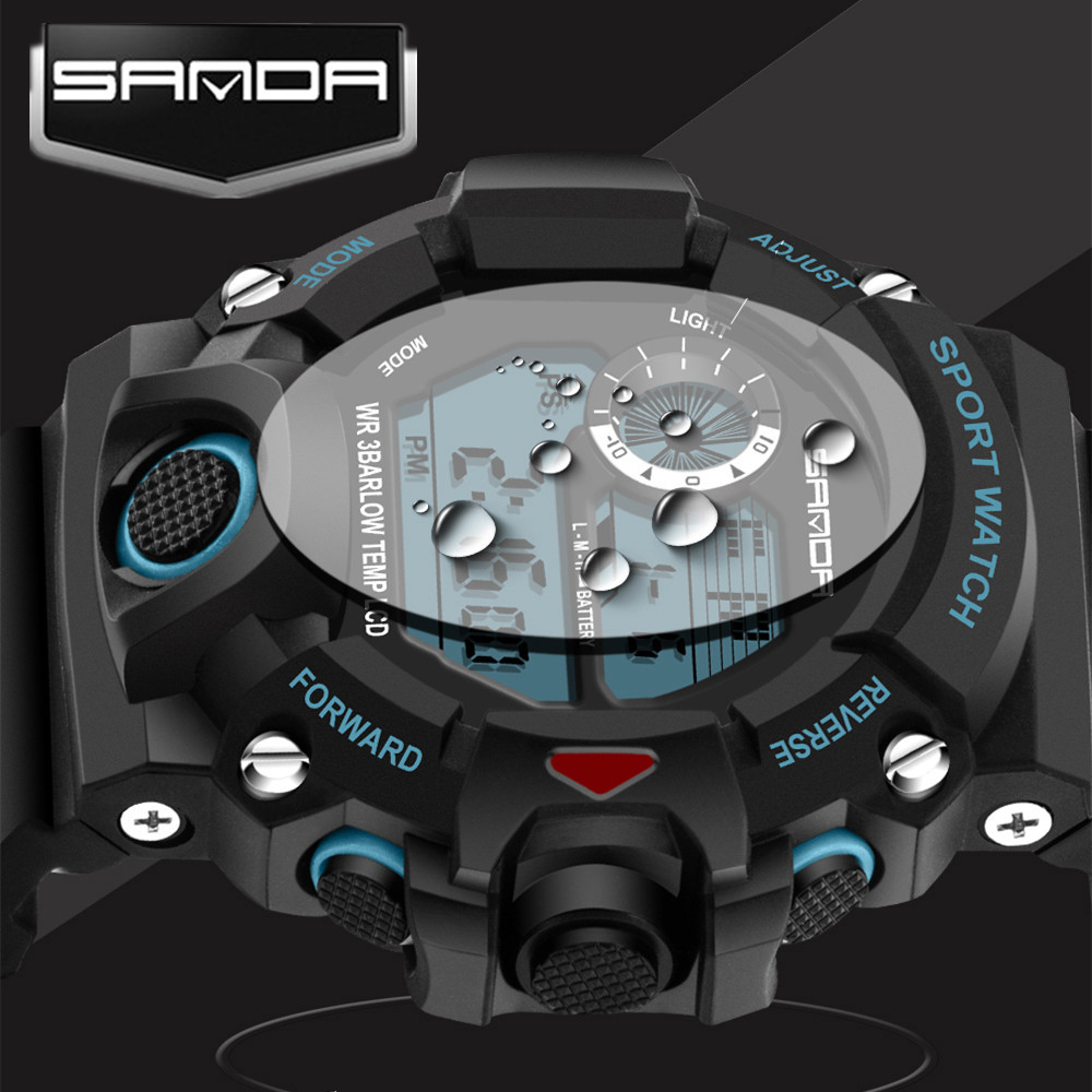 Sanda Mens Watches Top Brand Luxury LED Digital Military Sports Watches For Men Wristwatches Clock Men
