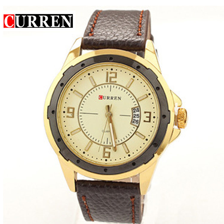CURREN new fashion casual quartz watch men large dial waterproof chronograph releather wrist watch relojes free shipping 8124