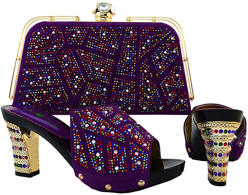 ФОТО New Africa Shoes And Matching Bag Set For Wedding Italian Design Women's Party Shoes And Bag Set Free Shipping Purple BCH-19