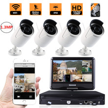 4CH 960P CCTV Wireless Camera Kit 2TB HDD NVR Outdoor Night Vision IP 1.3MP Camera Security Surveillance System 10.1″ Monitor