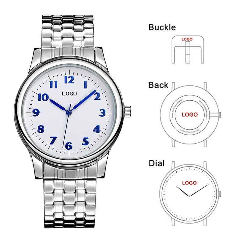 B-8204 Wanita Kustom Merek Nama Anda Sendiri Jam Tangan Stainless Steel Rantai Custom Logo Band OEM Watch Disesuaikan Desain