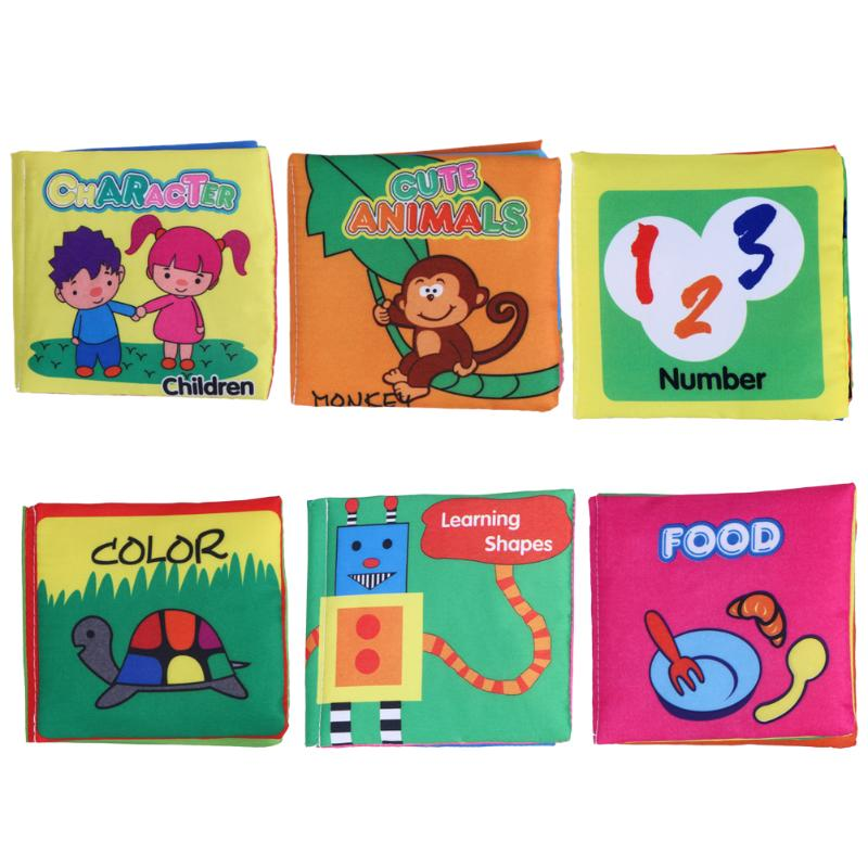 6 Patterns Baby Cloth Books Soft Infant Studying Books Toy Rustle Sound Baby Stroller Rattle Toy Kids Educational Toys Crib Bed