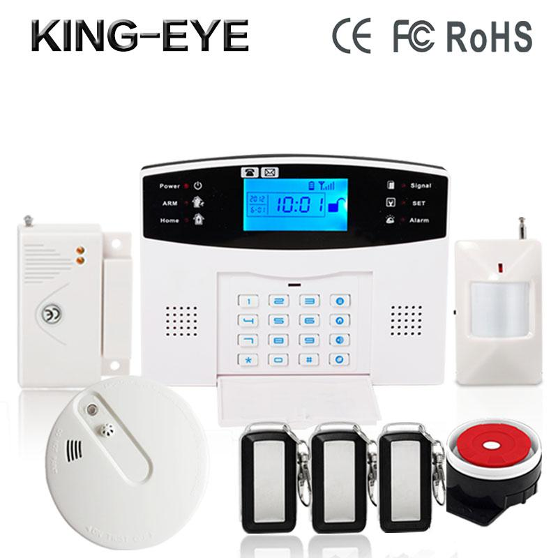Russian/Polish/French voice LCD display auto dial burglar gsm alarm system wireless siren for home security fire smoke detector wireless smoke fire detector for wireless for touch keypad panel wifi gsm home security burglar voice alarm system