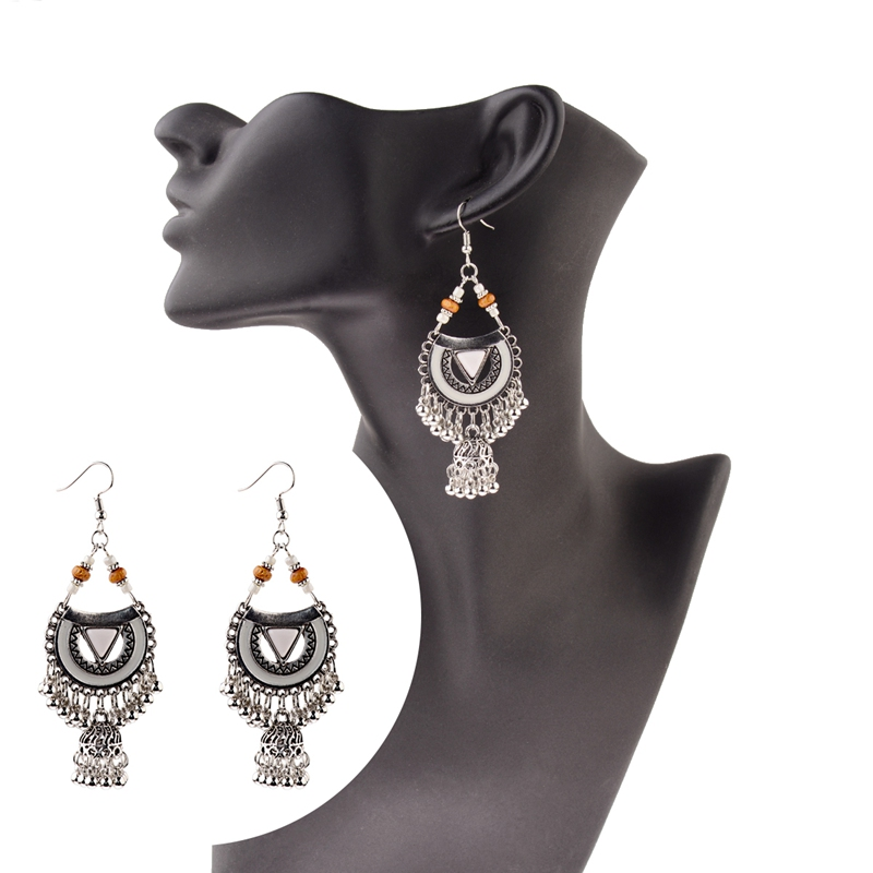 Wood Beads Egypt Drop Ethnic Indian Birdcage Vintage Earrings