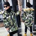 Adolescente Meninos Jaquetas de Camuflagem De Algodão Casacos de Inverno Para Meninos Com Capuz De Pele Outerwear Ano Novo Engrossar Parka Quente 6 8 10 12 14 anos