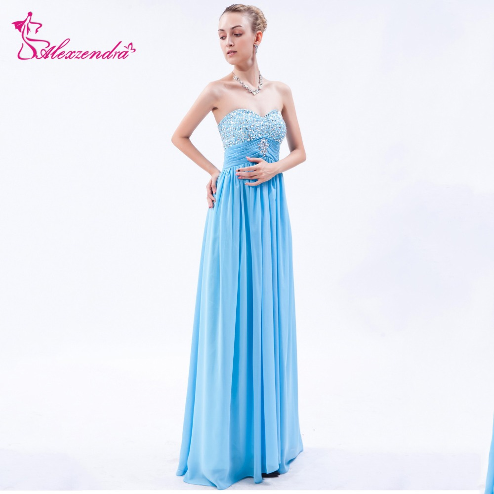 Alexzendra Sky Blue Chiffon Long A Line   Prom     Dresses   Sweetheart Beaded Party   Dress   Evening   Dresses   Plus Size