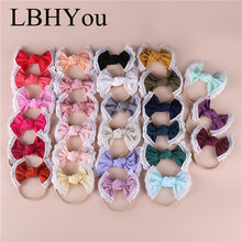 27PCS Knot Bows Nylon Headbands With Lace Trims.Super Soft Cotton Bowknot Elastic Headband,Baby Girls Hairbands