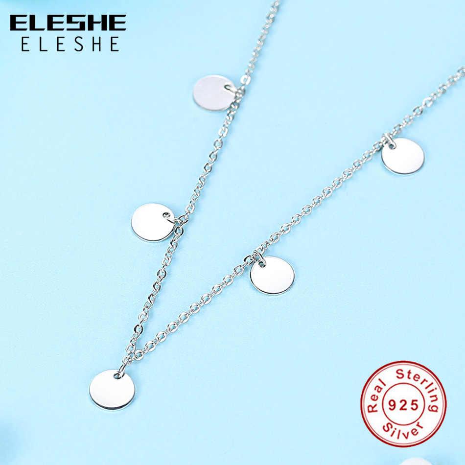Eleshe 2019 Baru Fashion Mewah Bulat Koin Kalung untuk Wanita 925 Sterling Perak Rantai Kalung Collier Femme