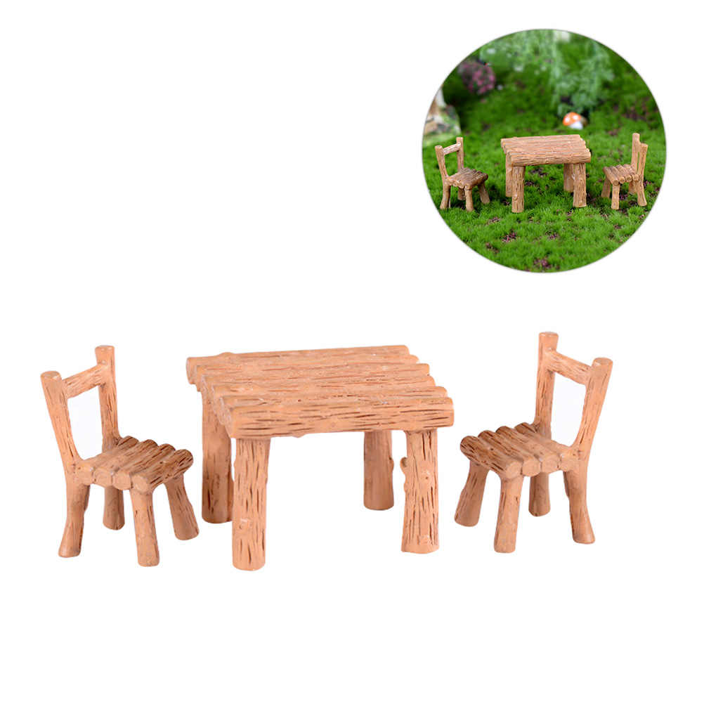 1 セットテーブルと椅子苔マイクロ風景広場漫画樹脂園芸小さな工芸のペンダントの装飾のギフト A30