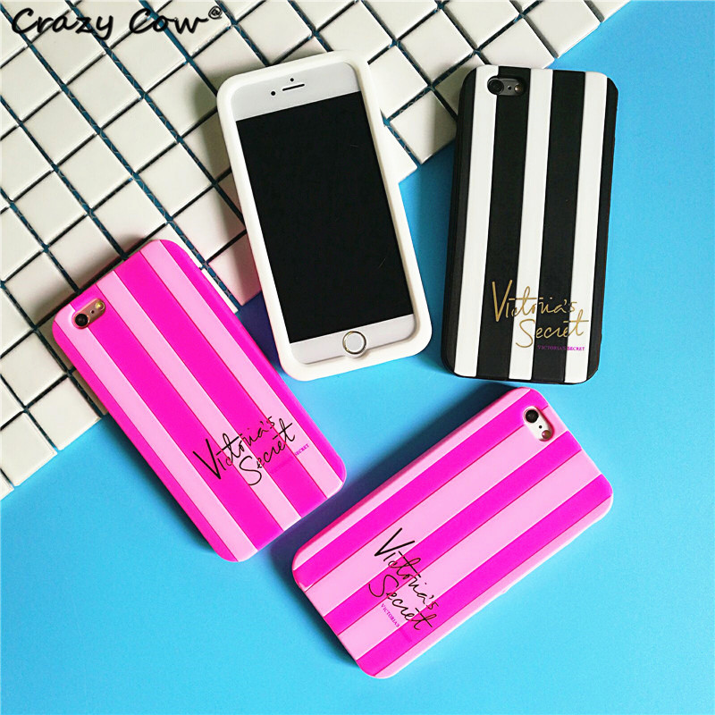Soft Silicone Phone Case For apple iPhone 5 5s Se 6 6s 6 7 8 Plus iphone X XR Cover Mobile Phone cute women stripe Coque Pink