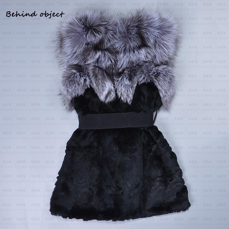 2018 neue muster Echte Natürliche Kaninchenfell Silberfuchs pelze - Damenbekleidung - Foto 6