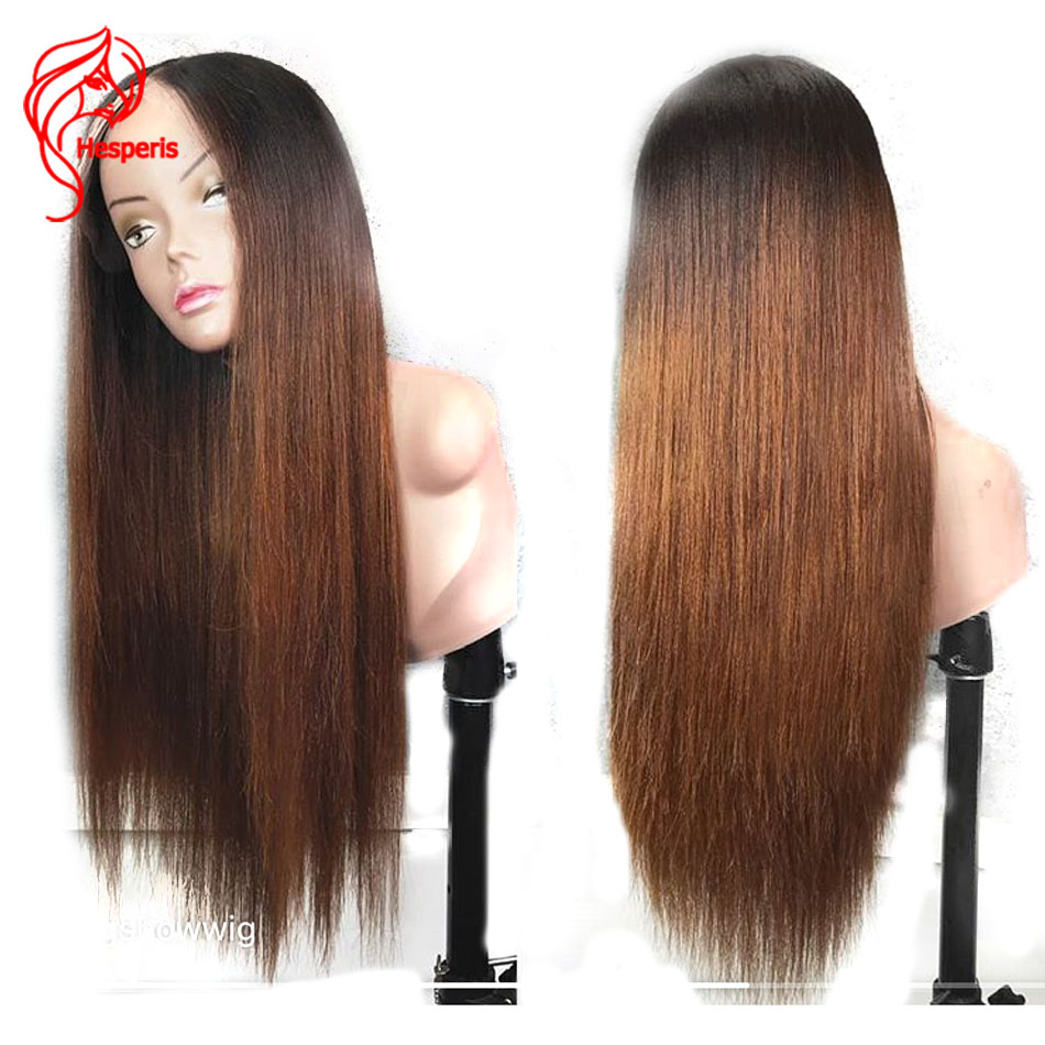 Hesperis 200 Density Lace Front Human Hair Wigs Pre Plucked Brazilian Remy Ombre Lace Front Wigs Brown Ombre Long Straight Wigs